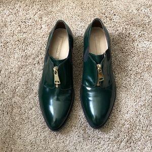 BCBG Max Azria Antonio Oxford Green Leather shoes